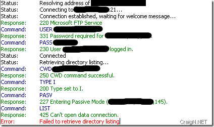 Failure to retrieve the directory listing